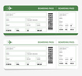 plane tickets green boarding pass and gate number