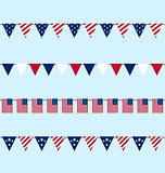 Hanging Bunting pennants for Independence Day USA, Set Tradition