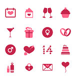 Modern flat icons for Valentines Day, design elements, isolated