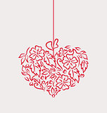 Ornamental heart in hand drawn style for Valentine Day, isolated