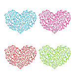Set ornamental hearts in floral hand drawn style for Valentine D