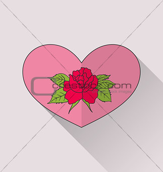 Celebration romantic heart with flower rose for Valentine Day