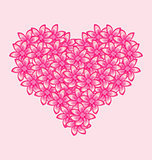 Romantic heart made of pink flowers for Valentine Day
