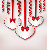 Set card heart shaped with silk ribbon bows and paper serpentine