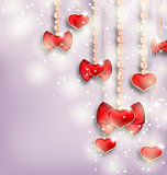 Glowing background with hanging hearts for Valentine Day, copy s
