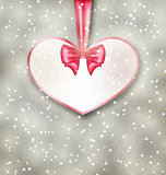 Greeting paper card made of heart shape Valentine Day
