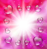 Llighten background with glassy hearts for Valentine Day, copy,