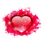 Beautiful glassy heart on grunge pink blobs for Valentines day