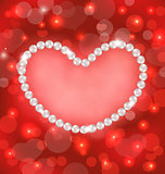 Lighten background with heart made in pearls for Valentine Day,