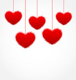 Red hanging hearts for Valentines Day with copy space for your t