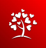 Concept of tree with heart leaves, paper cut style