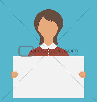 Business Woman Holding Big Blank Paper Banne