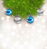 Christmas composition with fir branches and glass balls