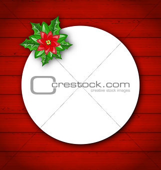 Celebration card with flower poinsettia for Merry Christmas