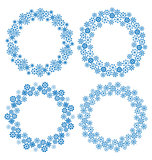 Snowflakes circle frames for Christmas holiday