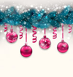 Holiday background with Christmas fir branches and glass balls,