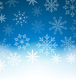 New Year blue background with snowflakes and copy space for your