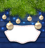 Navidad greeting card with golden balls and fir branches