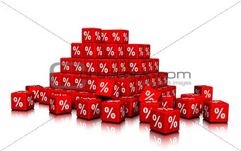 A Bunch of Red Cubes with Percent symbols