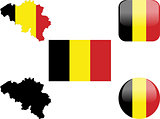 flag, buttons and map of belgium