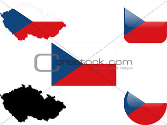 flag, buttons and map of czech republic