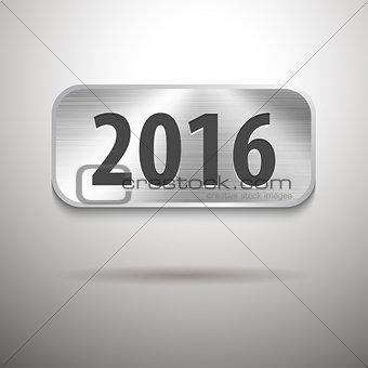 Calendar 2016 digits on brushed metal tablet
