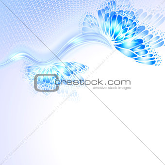 Abstract wave blue purplr background with butterfly