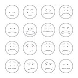 Set of smiley icons: different emotions outline