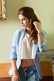 fashion shoot of casual brunette model