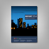Brochure book with night lighted city template
