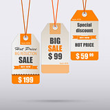 Orange vintage tag for sale template
