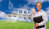 Businesswoman Making Okay Hand Sign with Ghosted House Drawing B