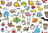 seamless doodle animal pattern