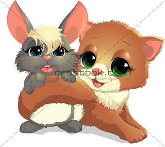 Kitten and bunny