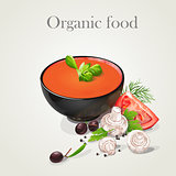 tomato soup with fresh vegetables