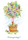 Festive postcard with Easter eggs and baskets