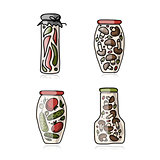 Bank of pickled vegetables, sketch for your design