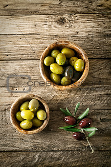 Olives on wood