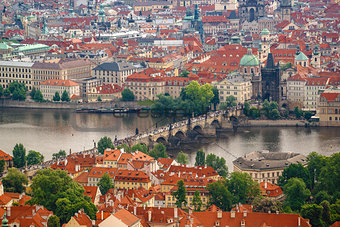 Prague Charles Bridge from Petrin Hill