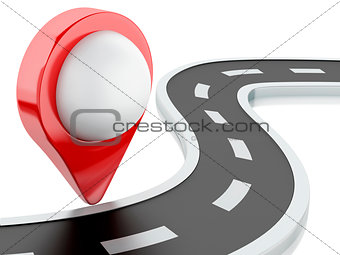 3d road with pin pointer