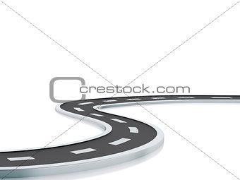 3d illustration of curved road.