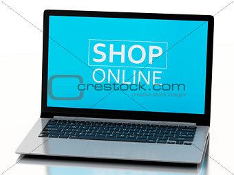 3d Laptop. e-commerce  concept
