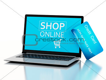 3d Laptop pc with credit card. Online purchase