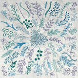 Hand Sketched Rustic Floral Branches on Crumpled Paper