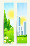 Two Vertical Banners with Nature and City