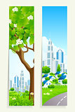 Two Vertical Banners with City