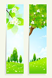 Two Vertical Banners with Nature