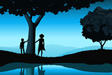 Nature Background with Silhouettes