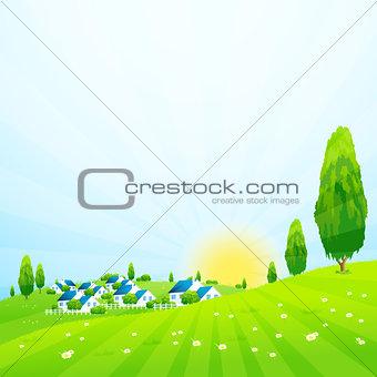 Green Landscape with Village
