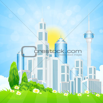 Green Landscape with City